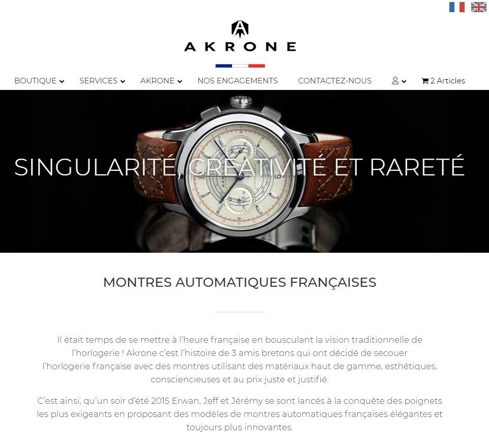 image de la page d'accueil du site akrone.fr